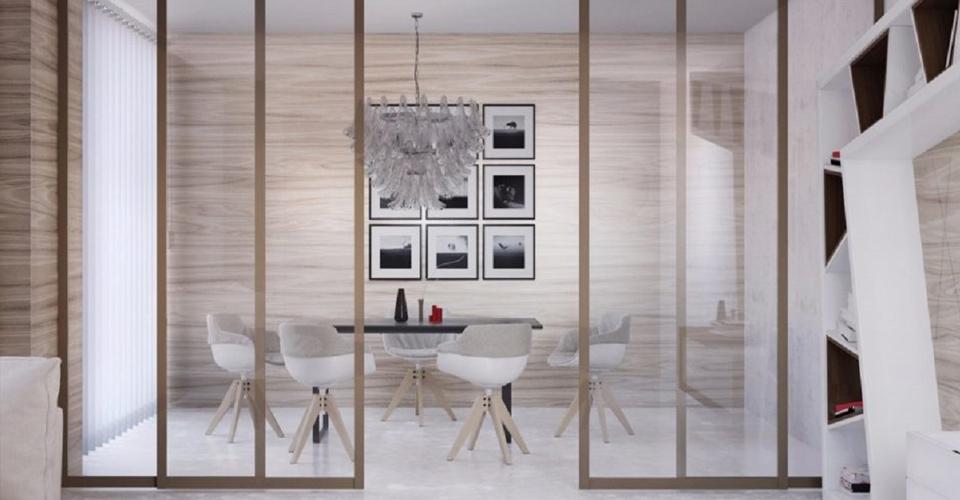 Прозрачные перегородки для зонирования пространства в комнате в Москве