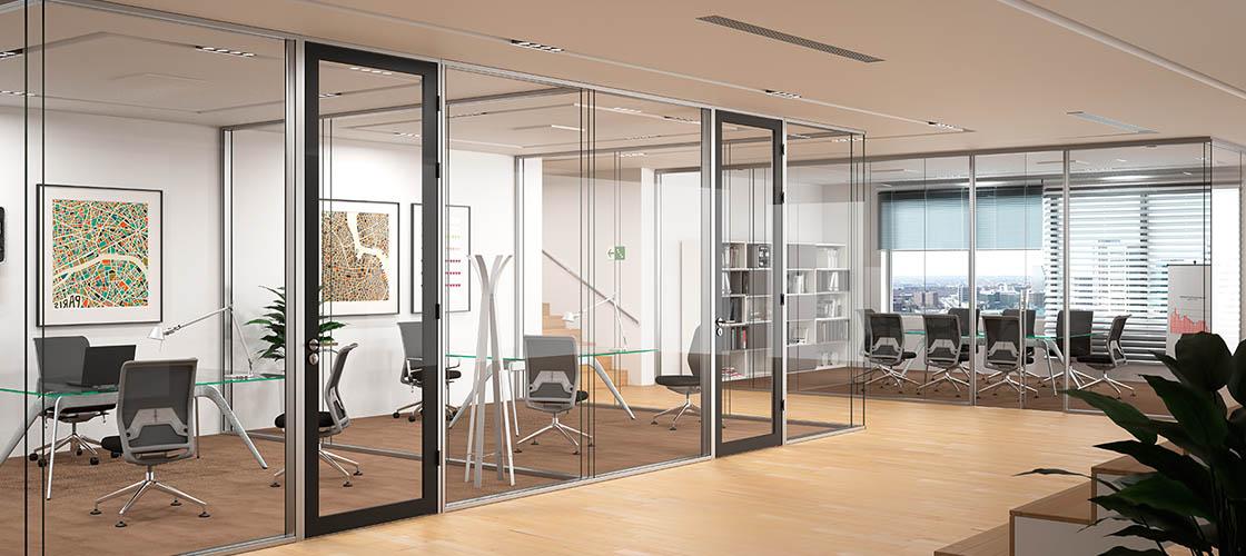 Монтаж офисных стеклянных перегородок