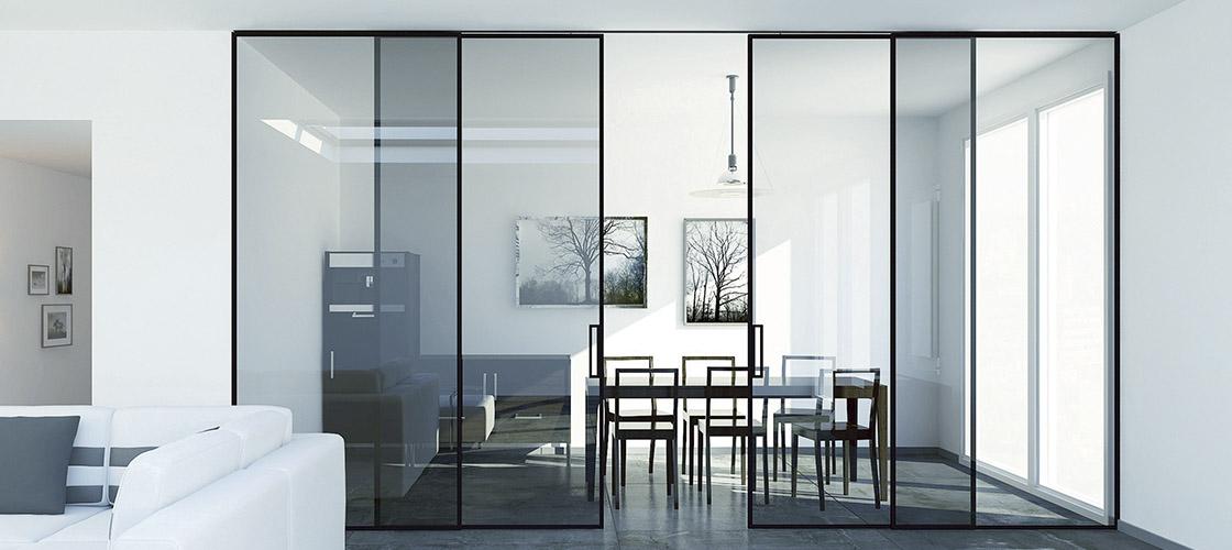 Монтаж раздвижных стеклянных перегородок